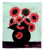 Painterly Red Sunflowers With Purple Fleece Blanket