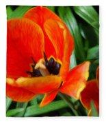 Painterly Red Tulips Fleece Blanket