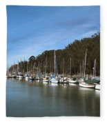 Painting Bay Side Harbor Fleece Blanket