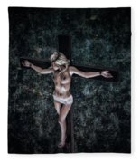 Painting Female Crucifix I Fleece Blanket