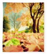Painting Of Autumn Fall Landscape In Park Fleece Blanket