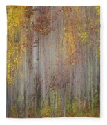 Painting Of Trees In A Forest In Autumn Fleece Blanket