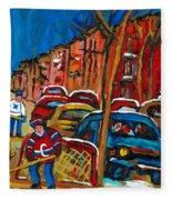 Paintings Of Montreal Hockey City Scenes Fleece Blanket