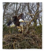 Pair Of Bald Eagles At Their Nest Fleece Blanket
