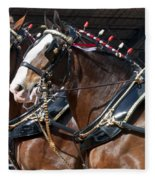 Pair Of Budweiser Clydesdale Horses In Harness Usa Rodeo Fleece Blanket