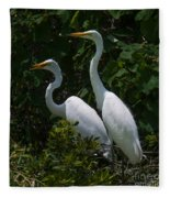 Pair Of Herons Fleece Blanket