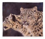 Pair Of Snow Leopards Fleece Blanket