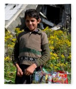 Pakistani Boy In Front Of Hotel Ruins In Swat Valley Fleece Blanket