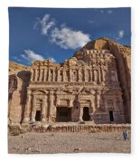 Palace Tomb In Nabataean Ancient Town Petra Fleece Blanket