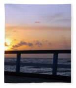 Palanga Sea Bridge At Sunset. Lithuania Fleece Blanket