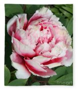 Pale And Dark Pink Peony Fleece Blanket