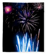 Pale Blue And Red Fireworks Fleece Blanket
