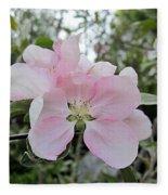 Pale Pink Crabapple Blossom Fleece Blanket