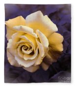 Pale Yellow Rose Fleece Blanket