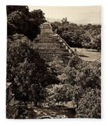 Palenque From The Jungle Panorama Sepia Fleece Blanket