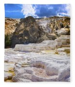 Palette Spring Terrace Panorama - Yellowstone National Park Wyoming Fleece Blanket
