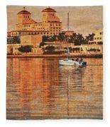 Palm Beach At Golden Hour Fleece Blanket