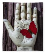 Palm Reading Hand And Butterfly Fleece Blanket