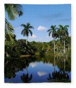 Palm Reflection And Shadow Fleece Blanket