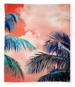 Palmscape Red Fleece Blanket