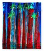 Palm Springs Nocturne Original Painting Fleece Blanket