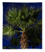 Palm Tree At Night Fleece Blanket