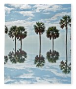 Palm Tree Reflection Fleece Blanket
