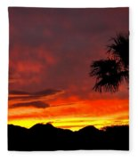 Palm Tree Silhouette Fleece Blanket
