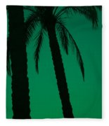 Palm Trees And Emerald Sky. Fleece Blanket