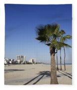 Palm Trees At Long Beach California Fleece Blanket