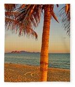 Palm Trees By A Restaurant On The Beach In Bahia Kino-sonora-mexico Fleece Blanket