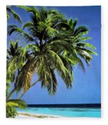Palm Trees On Little Palm Island Filtered Fleece Blanket