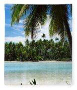 Palm Trees On The Beach, Rangiroa Fleece Blanket