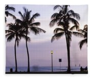 Palm Trees On The Beach, Waikiki Fleece Blanket