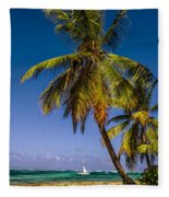 Palm Trees On The Beach Fleece Blanket