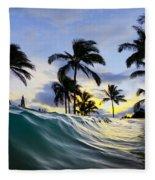 Palm Wave Fleece Blanket