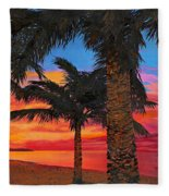Palme Al Tramonto Fleece Blanket