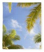 Palms And Sky Fleece Blanket