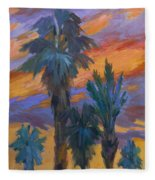 Palms And Sunset Fleece Blanket
