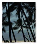 Palms At Dusk Fleece Blanket