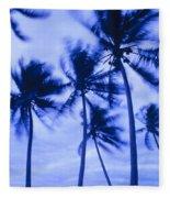Palms In Storm Wind-bora Bora Tahiti Fleece Blanket