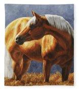 Palomino Horse - Gold Horse Meadow Fleece Blanket
