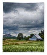 Palouse Farm And Steptoe Butte Fleece Blanket