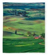 Palouse - Washington - Farms - 4 Fleece Blanket