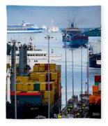 Panama Canal Express Fleece Blanket