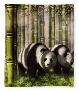 Pandas In A Bamboo Forest Fleece Blanket