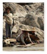 Panning For Gold Mekong River 2 Fleece Blanket