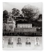 Panorama Alcatraz Infamous Inmates Black And White Fleece Blanket