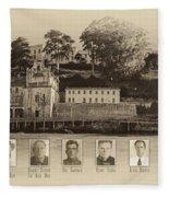 Panorama Alcatraz Infamous Inmates Sepia Fleece Blanket