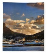 Panorama Cape Town Harbour At Sunset Fleece Blanket